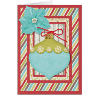 Holiday Ornament with Poinsettia Greeting Card