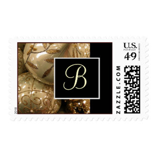 Holiday Ornaments Monogram Postage Stamps