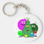 Holiday ornaments surrounding a chirstmas tree keychains