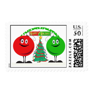 Holiday ornaments wishing you happy hoidays postage