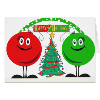 Holiday ornaments wishing you happy holidays card