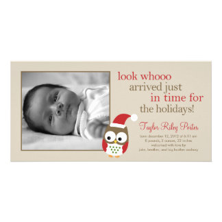 Holiday Owl Baby Birth Announcement Photo Card