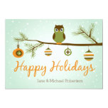 """Holiday Owl Christmas Card 5"""" X 7"""" Invitation Card"""