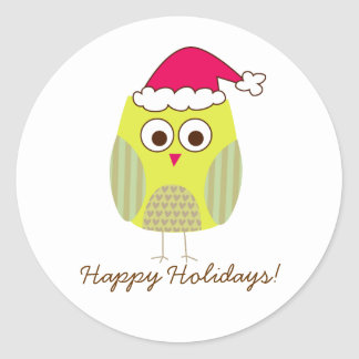 Holiday Owl in Santa Hat Classic Round Sticker