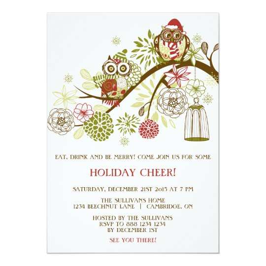 Holiday Owls Floral Christmas Party Invitation