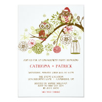 Holiday Owls Floral Engagement Party Invitation