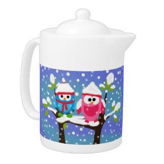 Holiday Owls Teapot