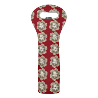 Holiday Oyster Flower Wine Tote - Design B