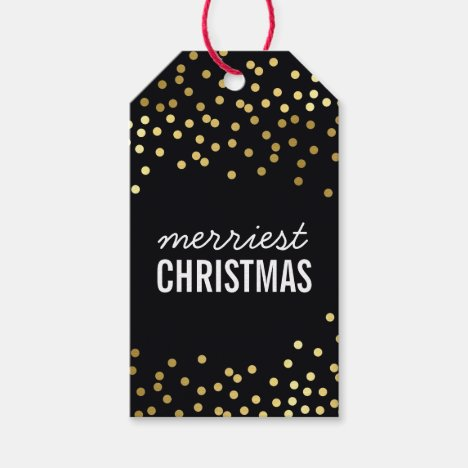HOLIDAY PACKAGING TAG gold spots smart black kraft