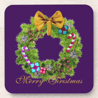 Holiday Painted Christmas Wreath Beverage Coaster