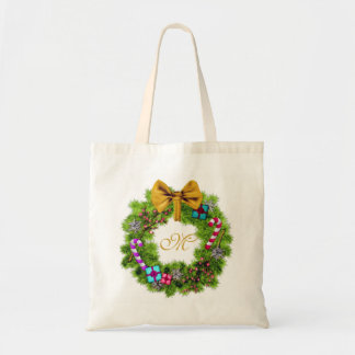 Holiday Painted Christmas Wreath Budget Tote Bag