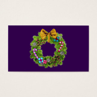 Holiday Painted Christmas Wreath Business Card