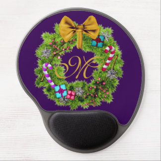 Holiday Painted Christmas Wreath Gel Mouse Pad
