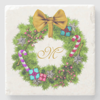Holiday Painted Christmas Wreath Stone Coaster