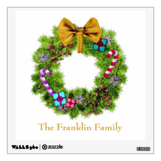 Holiday Painted Christmas Wreath Wall Sticker