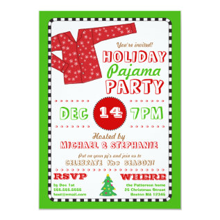 Holiday Pajama Christmas Party Invitation at Zazzle