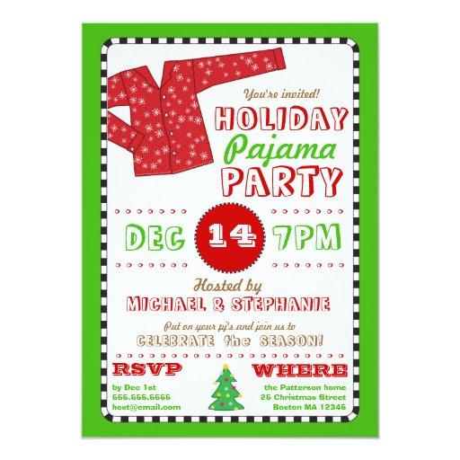 holiday pajama christmas party invitation