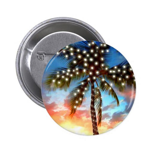 Holiday Palm Tree Lights at Sunset Button