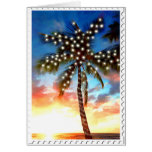 Holiday Palm Tree Lights at Sunset Cards