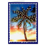 Holiday Palm Tree Lights at Sunset Greeting Cards