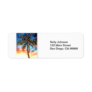 Holiday Palm Tree Lights at Sunset Label