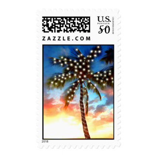 Holiday Palm Tree Lights at Sunset Postage