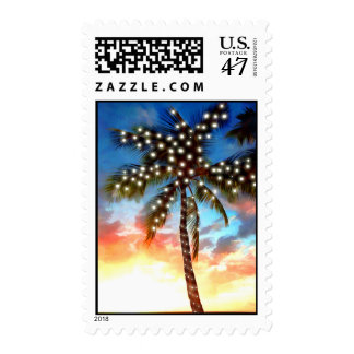 Holiday Palm Tree Lights at Sunset Postage Stamp