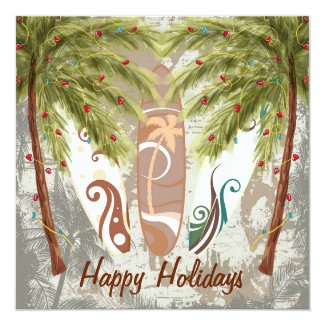 Holiday Palm Trees and Surfboards Beach Greeting 5.25x5.25 Square Paper Invitation Card