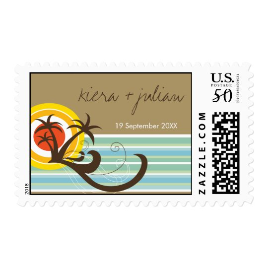 Holiday Palm Trees Sunset Beach Wedding Stamps