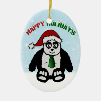Holiday Panda Ornament (double sided)