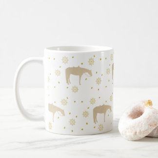 Holiday Parchment Gold White Western Horse Coffee Mug