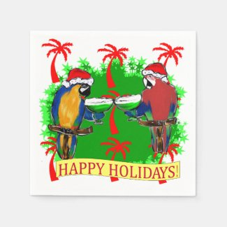 HOLIDAY PARROTS DISPOSABLE NAPKIN