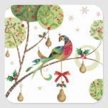 "Holiday Partridge Stickers<br><div class=""desc"">Holiday sticker shown with a festive partridge in a pear tree print.  