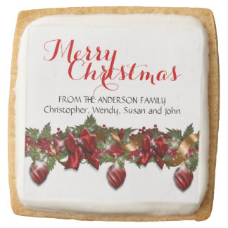 Holiday party business christmas square shortbread cookie