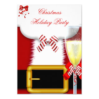 Holiday Party Christmas Santa Suit Champagne Card at Zazzle