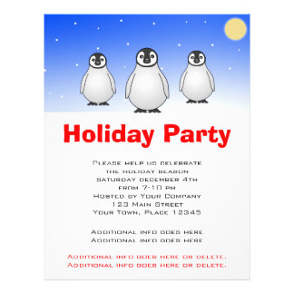 Holiday Party Flyer - Baby Emperor Penguins