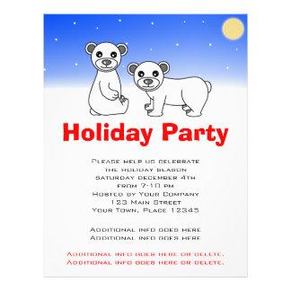 Holiday Party Flyer - Cute Baby Polar Bears