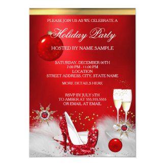 Holiday Party Glitter Red High Heel Champagne Card