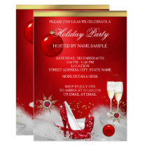 Holiday Party Glitter Red High Heel Champagne Invitation