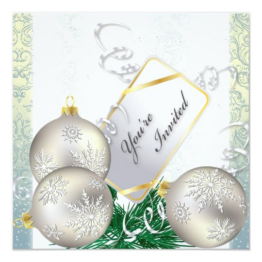 Holiday Party Invitation - Blue & Gold Ornaments