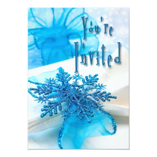 Holiday Party Invitation - Blue Snowflakes