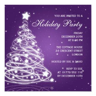 Holiday Party Invitation Christmas Tree Purple