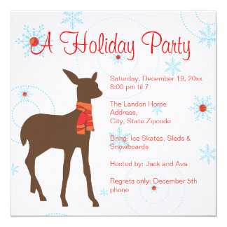 Holiday Party Invitation - Deer