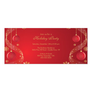 Holiday Party Invitation Elegant  Red & Gold