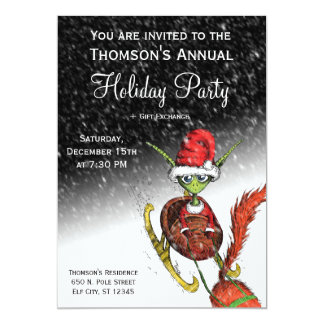 Holiday Party Invitation - Elf Riding Sleigh