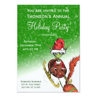 Holiday Party Invitation - Elf Riding Sleigh (grn)