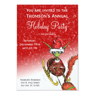 Holiday Party Invitation - Elf Riding Sleigh (red)