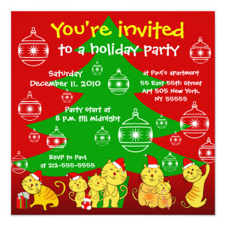 Holiday Party Invitation Family Cat