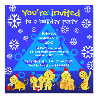 Holiday Party Invitation Family Cat Snow