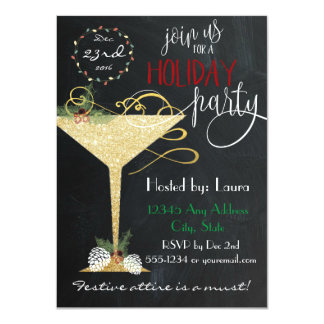 Holiday Party Invitation - Faux Glitter